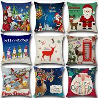 Wholesale Seat Cases - 45cm*45cm Christmas deer linen and cotton pillow cover sofa pillow case car seat cushion cover decorative pilllow