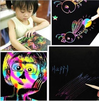 Wholesale Sheets K Colorful Scratch Art Paper Magic Painting Paper Plus Drawing Stick Kids Gift Toys Colorful Magic Scratch