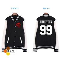 Wholesale Kpop Jacket - Wholesale- Kpop new idol twice member nanme printing hoodie jackets plus size lovers fleece single breasted baseball jacket