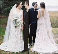 Wholesale Classy Beach Wedding Dresses - Vintage Sheath Lace Wedding Dresses White Applique V-Neck Elegant Backless Bridal Gowns Mermaid Style Classy Gorgeous Bride Dress Modest New