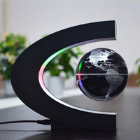 Wholesale Map Decorations - C Shape LED World Map Floating Globe Tellurion Magnetic Levitation Light World Map Home Decoration Kids Birthday Gift