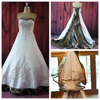 Wholesale Elegant Beaded Satin Bridal Gowns - 2016 Elegant A Line Camo Wedding Dresses With Embroidery Beaded Lace Up Court Train Plus Size Vintage Country Garden Bridal Wedding Gowns