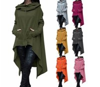 Mode Femmes Solid Color Draw Cord Coat Long Sleeve Loose Casual Poncho Coat Hooded Pullover Long Hoodies Sweatshirts 13 Couleurs