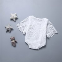Wholesale baby bat - New Baby Romper Baby lace Rompers Girl Cotton Solid color Bat sleeve lace romper baby clothes 0-2years