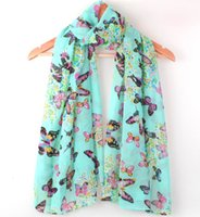 Wholesale Wholesale Red Sun Scarves - Wholesale-Free Shipping 2016 Autumn Winter Designer Butterfly Silk Scarf Accessories Long Sun-Shading 5 Colors #C0364