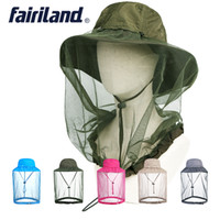 Wholesale Red Mosquito Insect - 5colors outdoor quick dry camping fishing hat mosquito net beekeeping flying insects prevention cap bee bug mesh hat UPF 40+ sun bucket hat