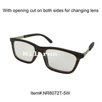 Wholesale Eyewear Wood Temples - Ultra light thin small square wood frame optical eyewear with plain clear lens and metal temples