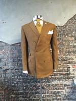 Wholesale Designer Handkerchiefs - Wholesale- Khaki Double Breasted Suits Custome Homme Fashion Tuxedos Designer Suits Handsome Slim Fit Blazer(Jacket+Pant+Tie+Handkerchief