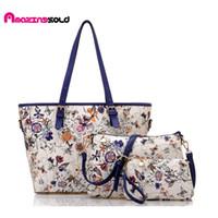 Wholesale Beautiful Floral Patterns - Wholesale- Beautiful Floral Pattern Women Bag Top-Selling Pu Leather Crossbody Messenger Bags+Handbags+Cluth Purse 3 Set Pcs Blosas