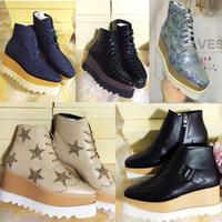 tam tahıllı deri ayakkabılar toptan satış-Stella Mccartney Platformu Çizme Kadın Ayakkabıları Elyse Yıldız Takozlar En Kaliteli Blingbling Tam Tahıl Deri Oxfords Ayakkabı 15 Renkler ...