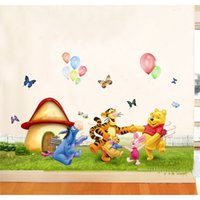 Wholesale Winnie Pooh Sticker Wallpaper - Winnie the pooh Movie Giant Peel And Wall Stickers Decor Giant Wall Decals PVC Kids Christmas Party Wall Art Wallpaper