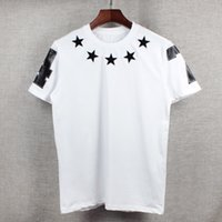 Wholesale men s fashion rings - 2018 spring and summer newest American street fashion star embroidery velvet ring-necked short-sleeved T-shirt printing 47
