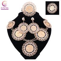Wholesale Italian Fashion Earrings - Fashion Italian Dubai Abaya Long Jewelry Sets Gold Coins Women African Gold-Plated Crystal Wedding Costume Necklace Earrings Set