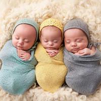 garn baby decken großhandel-Neugeborenes Baby Swaddles erhalten Decken Baumwolle Garn elastische Decken Verpackung Fotografie Requisiten 40 * 150 cm Kleinkinder Kleinkind Zubehör sen246