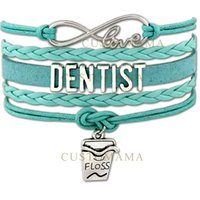 Wholesale Dental Cord - Custom-Infinity Love Dentist Bracelet Dental Floss Charm Gift for Dentists Wax Cords Wrap Braided Leather Adjustable Bangles-Drop Shipping
