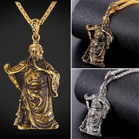 Wholesale Chinese Guan Gong - U7 Brave Faithful Pendant Necklace Chinese Historical Figure Guan Gong Gold Plated Stainless Steel Bless with Safeness Figure Gift GP2494