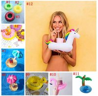 PVC Inflable Drink Cup Holder 12 Estilos Unicornio Flamingo Doughnut Duck Hongos Frutas Soportes de bebidas Floating Pool Stand de playa