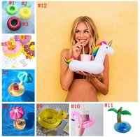 Wholesale Pvc Cup Holder - PVC Inflatable Drink Cup Holder 12 Styles Unicorn Flamingo Donut Duck Mushroom Fruit Beverage Holders Floating Pool Beach Stand