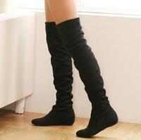 botas planas de otoño de las mujeres al por mayor--2016 al por mayor de la nueva marca Tamaño 34-43 mujeres botas de invierno Moda otoño botas planas de fondo sobre la rodilla de la pierna de alta Suede Mujeres Long Boots