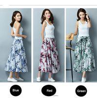 Wholesale Flax Skirt - New Fashion Spring And Autumn Cotton Skirt Long Autumn Flax Elastic Waist High Waisted Retro Print Large Swing Skirt Long Summer Skirt