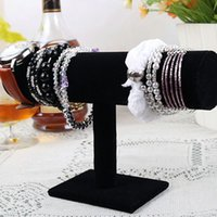 Bracelet en velours noir 23cm / 9.1in Montre en chaîne T-Bar Rack Bijoux Écran dur Stand Holder Jewelry Organizer Hard Display Stand