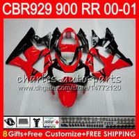 honda cbr 929 carenados rojo al por mayor-Cuerpo para HONDA CBR 929RR CBR900RR CBR929RR 00 01 CBR 900RR 67HM4 rojo negro CBR929 RR CBR900 RR CBR 929 RR 2000 2001 Kit de carenado 8Regalos