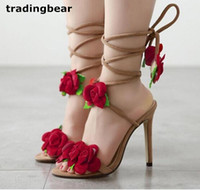 Wholesale Wedding Shoe Ankle Flower - Sexy Women Shoes High Heels Ankle Wrap Red Rose Flower Wedding Shoes Beige Size 35 to 40