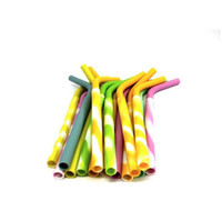 Wholesale Sucker Silicone - Reusable Silicone Eco Straws for Smoothie Flexible Sucker Drinking Straw for Mugs Tumbler Silicone Stripes Suckers For Rtic tumbler