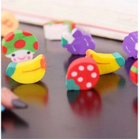 Wholesale Cute Mini Stationery - Wholesale-50pcs Lot Pencil Eraser Hot Selling Kawaii Eraser Cute Mini Fruit Rubber Pencil Eraser For Kid Children Stationery Gift Toy