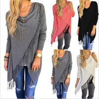 Wholesale Women Stylish Blouse - Tassel Knitted Blouse Stylish Loose Sweater Woman Irregular Collar Fashion Long Sleeve Cardigan Casual Outwear Jacket Poncho Coat D557