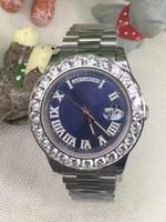 Wholesale Number Watch Mens - 2017 AAA Luxury brand watch men blue roman diamond number marker big diamonds bezel watch automatic sweep movement date mens wristwatches