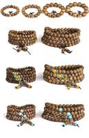тибетский бисера ожерелье оптовых-Многослойные венге Будда бусины обернуть браслеты Тибетский 108шт 6-8 мм молитва бусины Будда мала буддийский браслет ожерелье