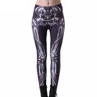 caneleiras de impressão óssea venda por atacado-Atacado-Drop ship Leggings de alta qualidade mulheres Slim moda ossos mecânicos leggings pretas leggings de impressão digital crânio plus size