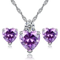 Wholesale Wonderful Earrings - New Comings White Gold Plated White Red Purple Crystal Heart Earrings Necklace Set for Girls Women Wonderful Birthday Gift for Girl Friend