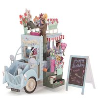 Wholesale Wholesale Greeting Cards Supplies - Wholesale-Romantic 3D Pop Up Car of Flower Greeting Cards Happy Anniversary Birthday Invitations Card Papercrafts Events Party Supplies