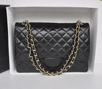 Wholesale Double Bow Ties - Fab Price XLarge Classial 33CM Maxi Quilted Chain Black Genuine Lambskin Leather Double Flaps Fashion Shoulder Chain Bag Gold Hw