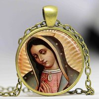 Wholesale Vintage Religious Art - Our Lady of Guadalupe pendant Necklace Virgin Mary Sacred Heart Religious Art Steampunk Bronze chain vintage women Jewelry
