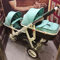 Wholesale Twins Stroller Bugaboo - Wholesale- 2017 Bugaboo Baby Stroller Promotion Baby Carriage Stroller Motherknows Twins Trolley Front And Rear Light Car Send Leg Covers