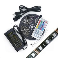 5M Black 5050 Led Strip Lights RGB Changeable 12V étanche IP65 + 44key Télécommande + 12V 6A Alimentation