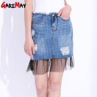 Wholesale Sexy Jeans Skirts - Short Jeans Skirt Ladies Summer Mini Skirt Lace High Waist Ripped Denim Sexy Skirts For Women Faldas Cortas Mujer GAREMAY 8993