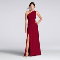 Wholesale Crinkled Dress - Long One-Shoulder Crinkle Chiffon Dress F18055 Champagne Wedding Party Dress Evening Dress Formal Dresses vestidos de festa