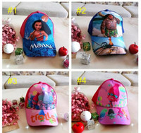 Wholesale Baseball Caps Kids Wholesale - Kids Trolls Moana Hat Cap 6 color NEW children Ball caps Boys girls Cartoon Mesh baseball hockey mesh Hat