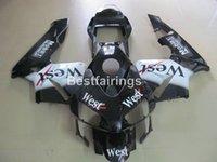 etiketli etiket kitleri toptan satış-Honda CBR600RR 03 04 için enjeksiyon Kaporta kaporta kiti batı sticker siyah motosiklet fairings set CBR600RR 2003 2004 RT30