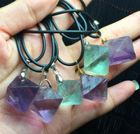 Wholesale Rough Pendant - Pure Natural Crystal Fluorite Octahedral Rough Stone Necklace Pendant Purple and green fluorite pendant Free shipping