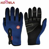 Wholesale Men S Gloves Cycling Winter - Men Women Cycling Gloves Full Finger Touch Screen Winter Warm Guantes Ciclismo MTB Bike Bicycle Windproof Gloves for Smartphone