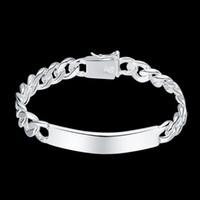 925 saat toptan satış-Erkek Takı 925 ayar gümüş 10mm İzle zincirler 20 cm bilezik bileklik H181