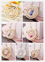 Wholesale Harry Potter Rotating Time Turner - Hot Sale Movie Potter Time Collar Necklace Turner Hourglass Harry Necklace Hermione Granger Rotating Pendant Jewelry Wholesale