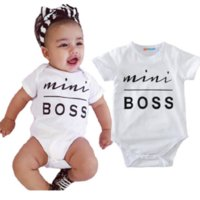 Wholesale White Overalls Baby Boy - Baby Clothes Toddler Unisex Rompers Suit Mini Boss Kids Jumpsuit Infant Onesies Overall Babies Boys Girls Leotards Summer Outfit