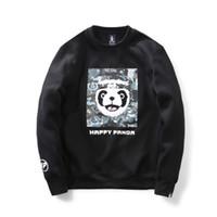 Wholesale Men Panda Suits - 2017 New Arrival Fashionable Cheap Happy Panda Men's Sweatershirts Cotton Black Gray O-Neck Long Sleeve Sports Suits Free Shipping