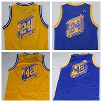 Wholesale Player Style - Men New Style 24 Rick Barry Jersey Throwback Team Color Blue Yellow 42 Nate Thurmond Retro Jerseys Vintage High Quality With Player Name